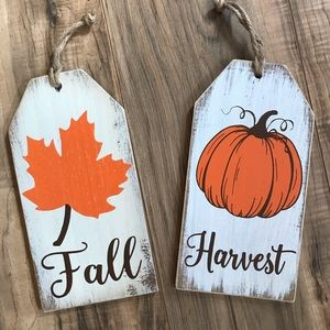 New wood hanging Fall & Harvest home decor signs